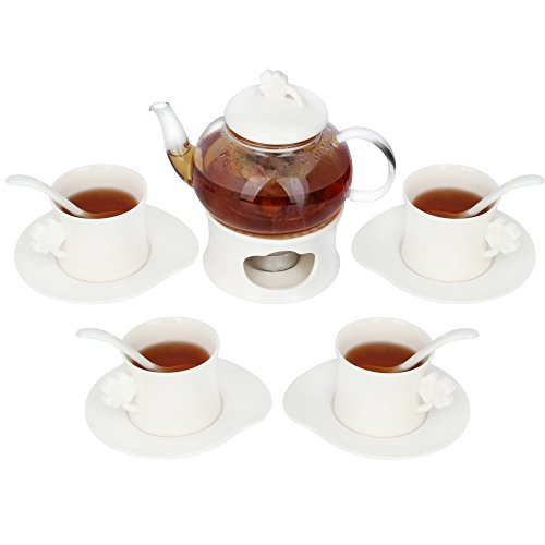 Kendal 20 oz tea maker teapot with a Porcelain warmer and 4 sets of Porcelain Cup and Saucer and Spoon WSYC