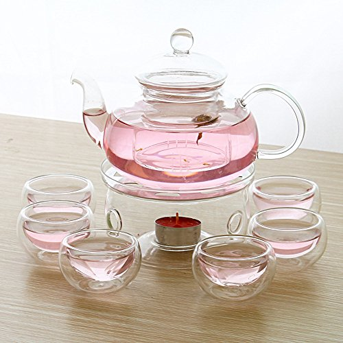StarForest New Version 28 OZ Glass Filtering Tea Maker Teapot with a Warmer and 6 Tea Cups Set