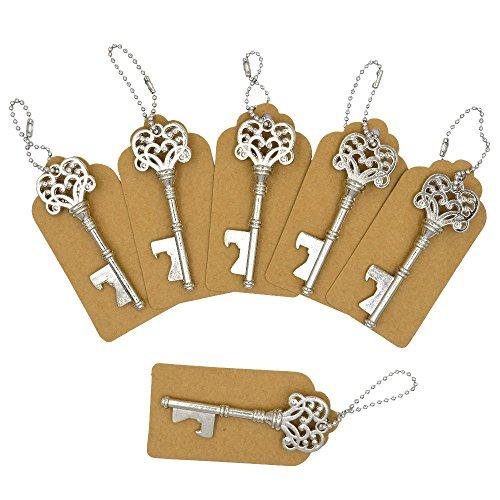 Aiskaer 100 PCS Key Bottle OpenersVintage Skeleton Key Bottle OpenerKey Bottle Openers Wedding Favors Rustic Decoration with Escort Tag Card