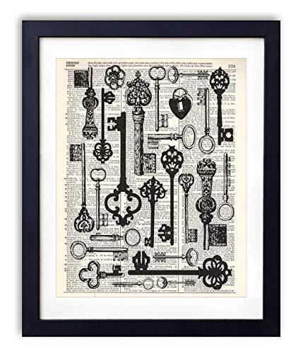 Vintage Keys Illustration Upcycled Dictionary Art Print 8x10