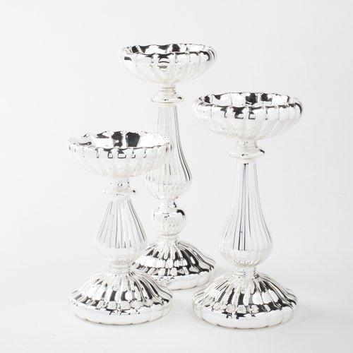 Eastland Ribbed Silver Mercury Glass Pillar Candle Holder Set of 3 3 Sizes