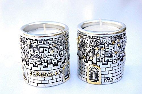 Silver Plating Candlesticks Shabbat Candles Holders Jewish Jerusalembarrel Design