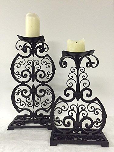 Maitland Smith Set of 2 Black Scroll Iron Candleholders
