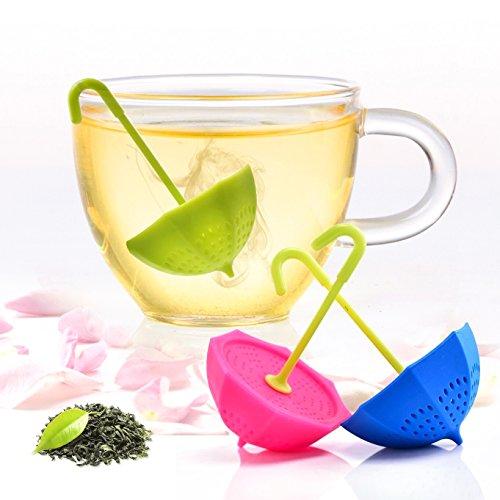 Tea Bag Infuser-Senbowe™ 3 Pack Colorful Genuine Premium Silicone Umbrella Reusable Tea Ball Infuser Strainer Steeper Set for Loose Leaves Herbal Teas-Great Gift for Tea Lovers
