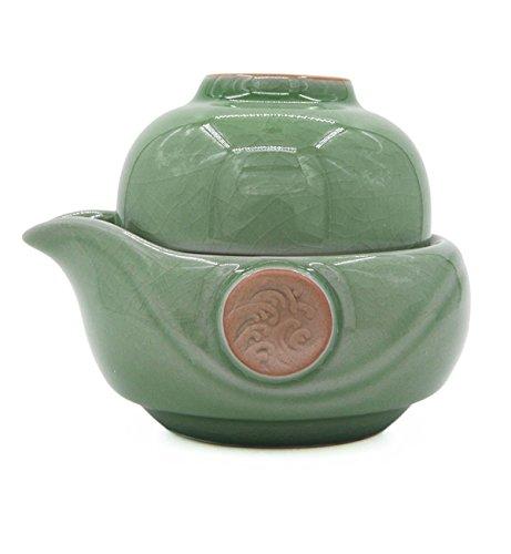 Vegali Celadon Pumpkin-Style Portable Gongfu Tea Set -100 Handmade Chinese  Japanese Vintage Gongfu Teaset - Porcelain Teapot Teacups Celadon-B