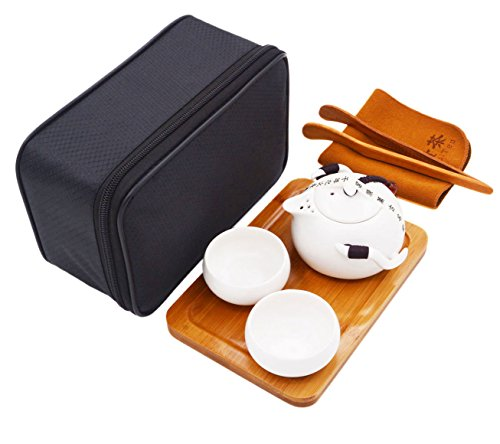 Vegali Chinese  Japanese Style Portable Travel Kungfu Tea Set-100 Handmade White