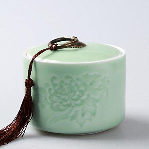 Ceramic tea caddy tins tea leaf set tea storage canister tea canister sealed jar dried fruit cans light green