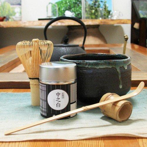 Japanese Matcha Green Tea Service Set  inclu Tea Bowl Matcha Green Tea Powder Tea Service Spoon and Tea Whisker Japan Import by Hagiri