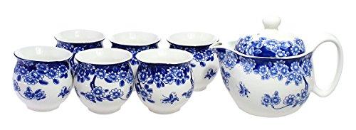 JustNile Classic Porcelain Ceramic Chinese Kungfu Tea Service Set - BlueWhite Serves 6