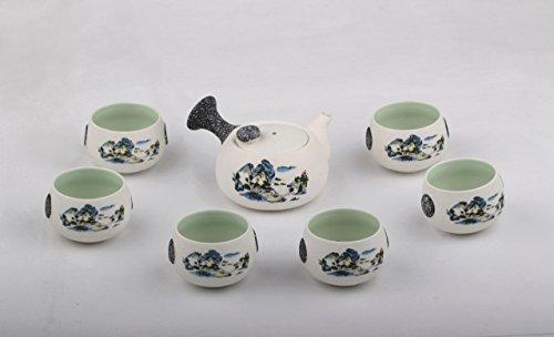 Eternal Chinese Ceramic Kung Fu Tea Set for Adults6 Teacup and Ceramic yixing Tea Pot landscape