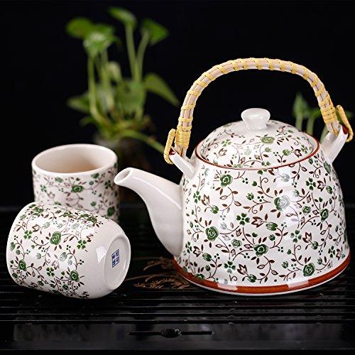 Green Floral Design Ceramic Tea Service Set with Teapot 6 Teacups Tea Infuser