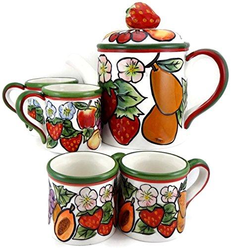 KK Ceramic Fruit 5 Piece Tea Set Tea Pot with 4 Mugs