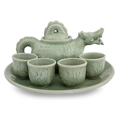 NOVICA Ceramic Tea Set Green Thundering Dragon