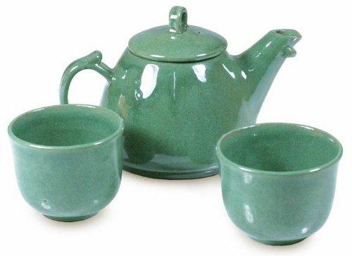NOVICA Hand Crafted Serveware Ceramic Tea Set Green Maya Jade set for 2