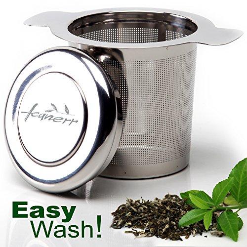 TeaNerr-Premium Quality Tea Infuser Stainless Steel with a Lid - Best Strainer for Loose Leaf Tea- Easy Wash - Laser Mesh Tea Steeper For Most Popular Tea Mug Size