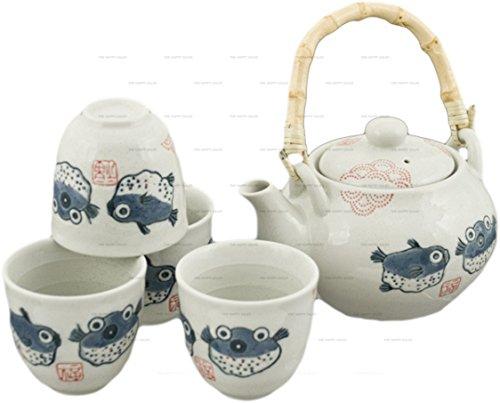 Happy Sales HSTS-BLF07 Japanese Design Off White Porcelain Tea Set Blowfish