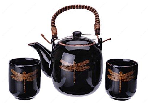 Kotobuki 110-555 Japanese Black Porcelain Tea set with Gold Dragonfly Design