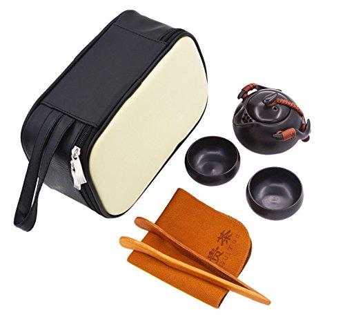 Vegali Chinese  Japanese Vintage Kungfu Gongfu Tea Set - Porcelain Teapot Teacups Tea Clip Towl with a Portable Travel Leather Bag Black