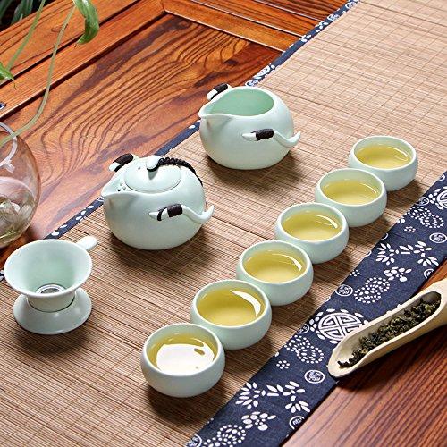 XDOBO Imported Vintage Chinese Japanese Style Porcelain Handmade Kung Fu Tea Set 10-pack Green