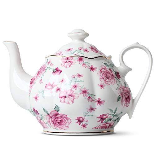 BTäT- Tea Pot Teapot Porcelain Teapot 38 oz Floral Teapot Bone China Teapot for Tea Set Ceramic Tea Kettle Tea Pots for Tea Cup Tea Pot Ceramic Tea Pots for Loose Tea Teapot for Infuser