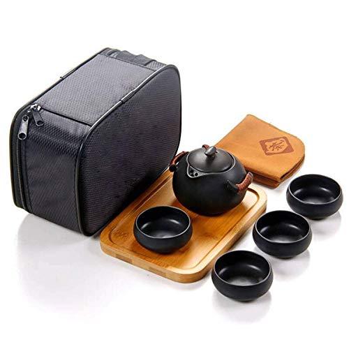 Lependor 100 Handmade ChineseJapanese Vintage Kungfu Gongfu Tea Set - Porcelain Teapot Teacups Bamboo Tea Tray Tea Mat with a Portable Travel Bag - Black