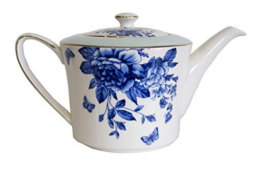 Rosemoor Porcelain Teapot with Blue Floral Design Gold Trim