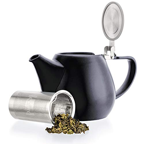Tealyra - Jove Porcelain Large Teapot Black - 340-ounce 3-4 cups - Japanese Made - Stainless Steel Lid and Extra-Fine Infuser To Brew Loose Leaf Tea - 1000ml