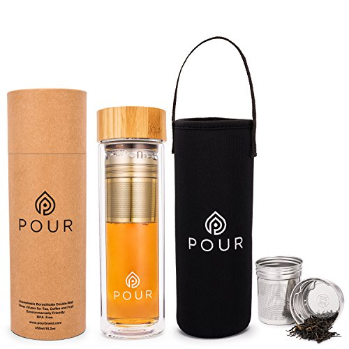 Pour Double Wall Insulated Borosilicate Glass Tea Infuser Bottle With Leakproof Bamboo Lid Sleeve  Stainless Steel Fine Steeping Thick Bottom  For Loose Tea Fruit Water Coffee Brewing More