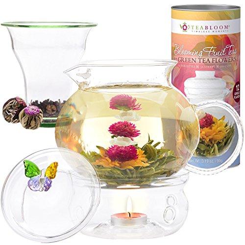Teabloom Wings of Love Blooming Tea Gift Set - 40 oz Borosilicate Glass Teapot Teapot Warmer Glass Loose Tea Infuser 12 Fruit Flowering Tea Canister