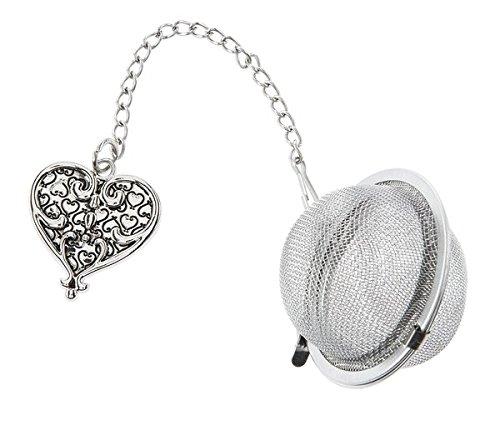 Ornate Heart Charm Tea Infuser Ball - By Ganz