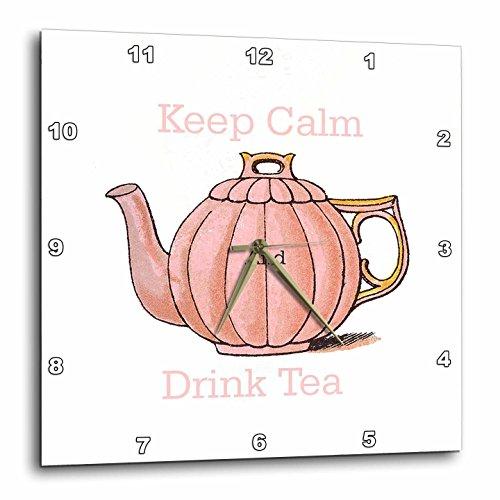 Florene Keep Calm Fun Sayings - Image of Keep Calm And Drink Tea With Vintage Teapot - 10x10 Wall Clock dpp_238658_1