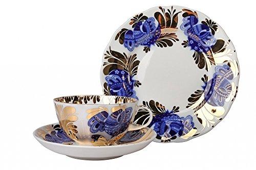Lomonosov Porcelain Tea Set Cup Saucer and Cake Plate Golden Garden 3pc