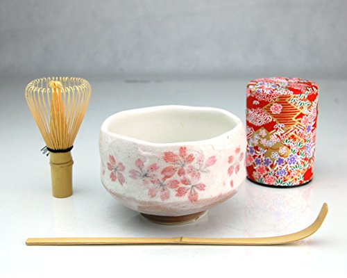Ryu Mei Beginner Kyoto Ceremony Green Tea Set with Organic Matcha Green Tea Powder Chawan Tea Set Bowl Bamboo Spoon Bamboo Whisk and a Washi Caddy Tin 527-24 Japan Red Sakura