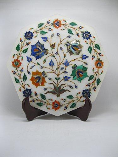 10 Antique Style Marble Kettle Cum Teapot Stand Pietra Dura Semi Precious Stones Inlay Art Elegant Useful