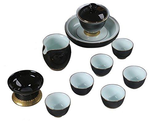 Insun Glaze Ceramic Kunng Fu Chinese Tea Set Service with Teapot Stand Black