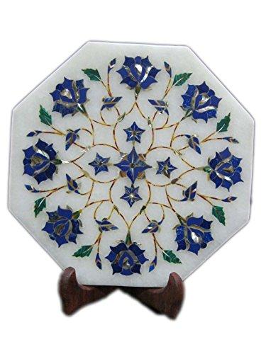 Oktagonal Antique Kettle Teapot Stand Marble Semi Precious Inlay Useful Decorative Gift Halloween Gift Item
