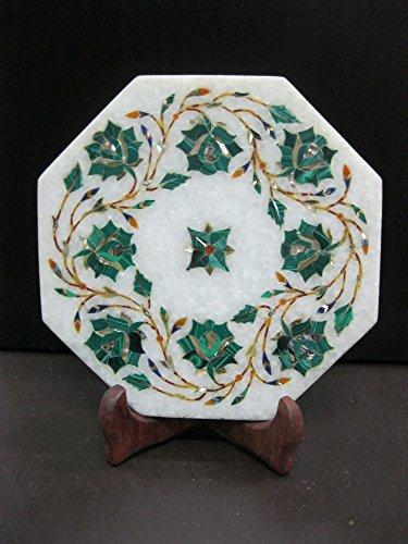 Royal Kettle Cum Teapot Stand Marble Pietra Dura Semi Precious Inlay Art Elegant Useful Decorative Gift Atrefacts 6 Malachite-Green Stone