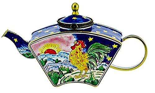 Kelvin Chen Sunrise Rooster Sapphire Blue Decorative Hinged Enamel Teapot