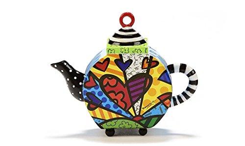 Romero Britto Decorative Mini TEAPOT Figurine- A New Day Hearts Design
