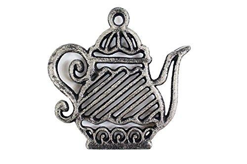 Rustic Silver Cast Iron Teapot Trivet 9 - Cast Iron Decorative - Teapot Decor