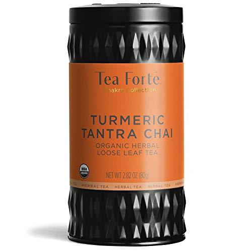 Tea Forte Chakra Organic Herbal Tea Makes 35-50 Cups 282 Ounce Loose Leaf Tea Canister Tumeric Tantra Chai