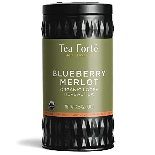 Tea Forte Herbal Retreat Organic Herbal Tea Makes 35-50 Cups 353 Ounce Loose Leaf Tea Canister Blueberry Merlot