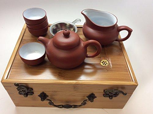 MusicCityTea Yixing Tea Set Travel Tea Set with Bamboo Tea Tray as Travel box BH tea pot by Music City Tea