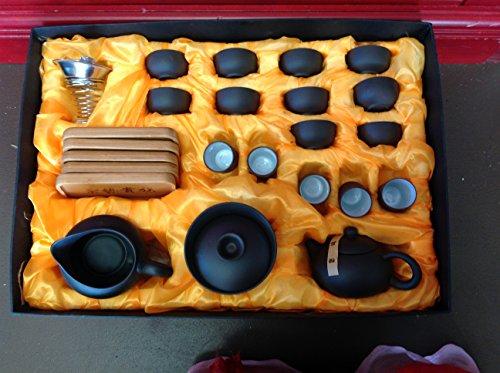 Yixing Tea Large Set Black and White Zi Sha Kung Fu Sets 22pcs for Sale