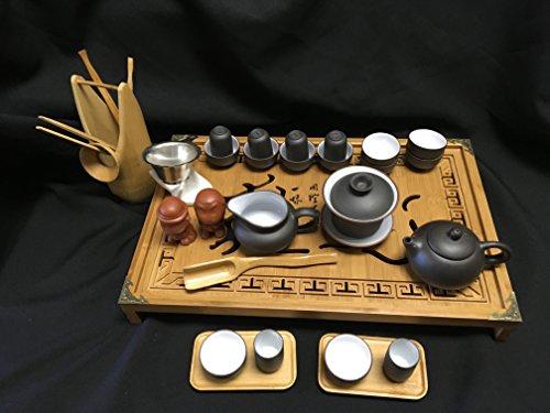 Yixing Tea Large Set Black and White Zi Sha Kung Fu Sets 28pcs for Sale