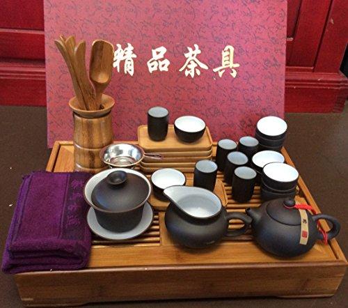 Yixing Tea Large Set Black and White Zi Sha Kung Fu Sets 29pcs for Sale