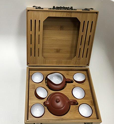 Yixing Tea Set Brow Zhisha Facy Set with a Medium Size Bamboo Tea Tray