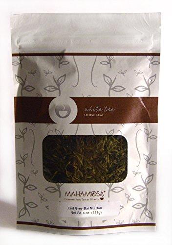 Mahamosa Earl Grey White Tea Pai Mu Tan 4 oz Loose Leaf White Tea Blend bai mudan bai mu dan with blue mallow blossoms bergamot flavor