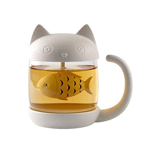 Carlie 10 oz Cute Cat Glass Cup Tea Mug With Fish Tea Infuser Strainer Filter