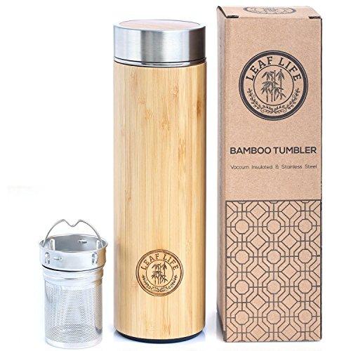 Original Bamboo Tumbler with Tea Infuser Strainer by LeafLife  17oz Premium Tea Bottle  Vacuum Insulated Travel Tea Mug  Comes with Tea Diffuser For Loose Tea